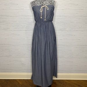 Gap Denim Maxi Dress Chambray w Pockets NWT